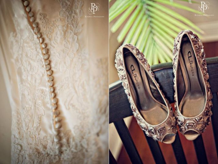 Intimate outdoor fall wedding in Washington DC- lace wedding dress, champagne peep-toe bridal heels
