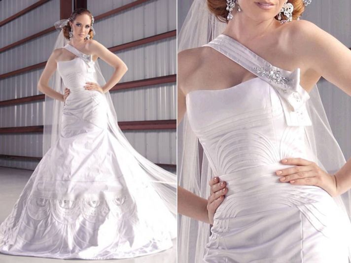 White silk shantung 2011 wedding dress with asymmetric beaded neckline