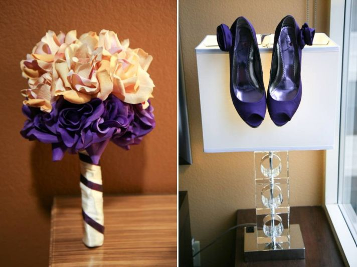 Peach and purple fresh flower bridal bouquet and purple peep-toe bridal heels