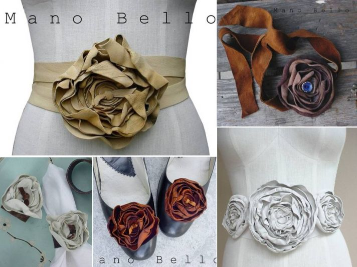 Luxe leather bridal belts and shoe clips available on Etsy