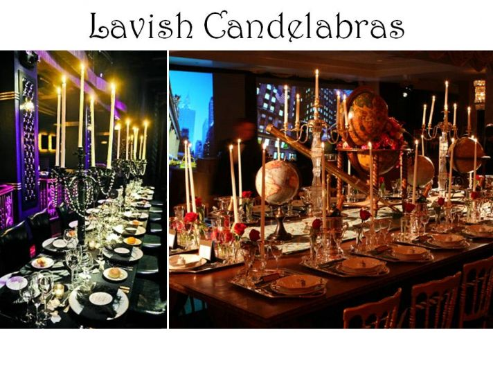 Nonfloral wedding reception table centerpieces candelabras and lots of