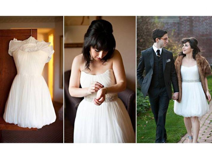 Adorable short strapless wedding reception dress with bubble hem