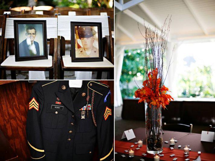 Military groom's uniform hangs in wedding venue