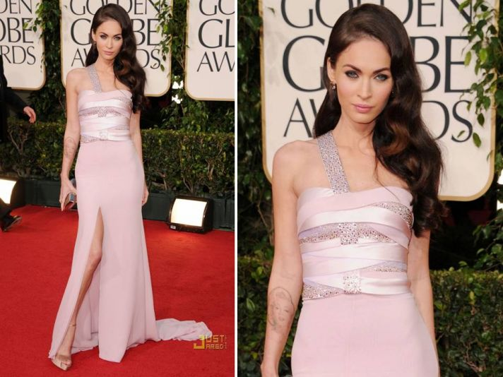 Megan Fox wears Armani Prive light pink assymetrical gown to 2011 Golden Globes