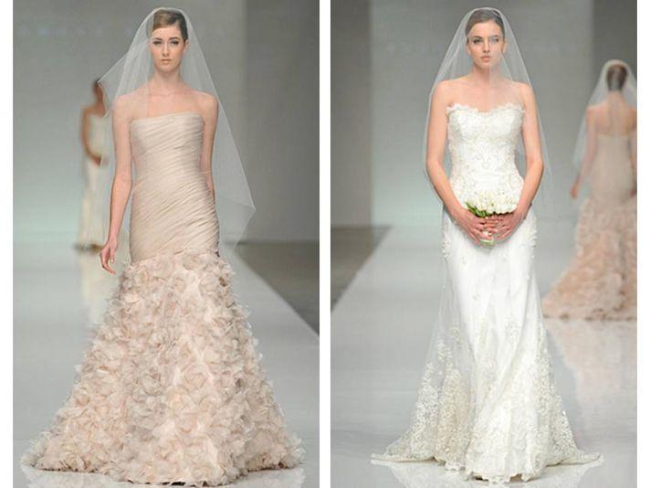 Beige strapless drop-waist 2011 wedding dress; white strapless lace column bridal gown