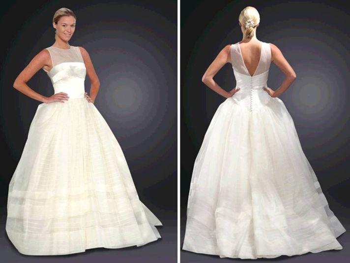 Stunning ivory ballgown wedding dress with illusion neckline