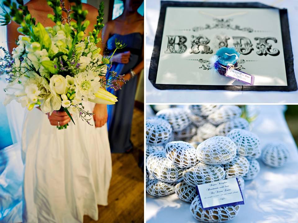 Bride 39s something blue wears white wedding dress clutches white wild