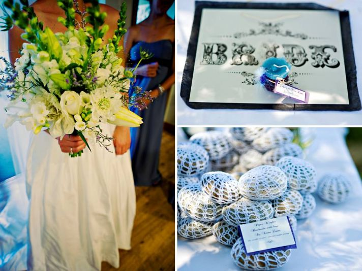 Bride's something blue, wears white wedding dress, clutches white wild flower bridal bouquet