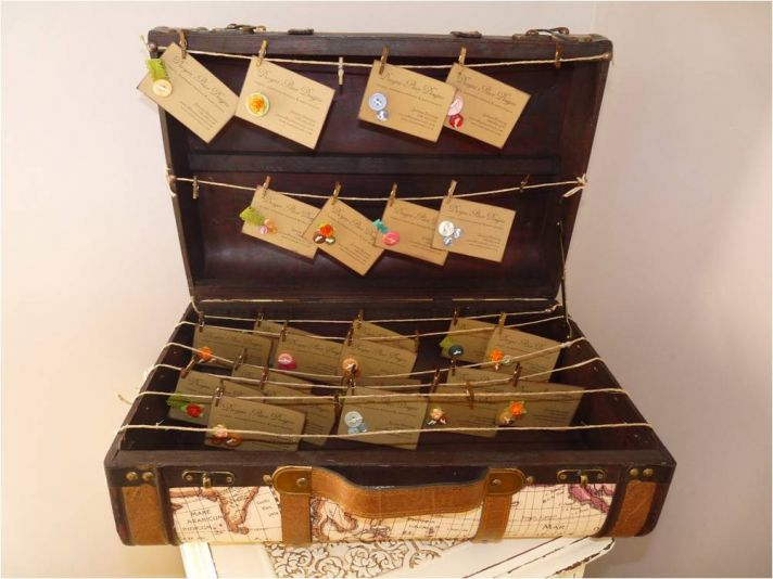 Vintage-chic custom wedding reception escort cards and trunk card holder
