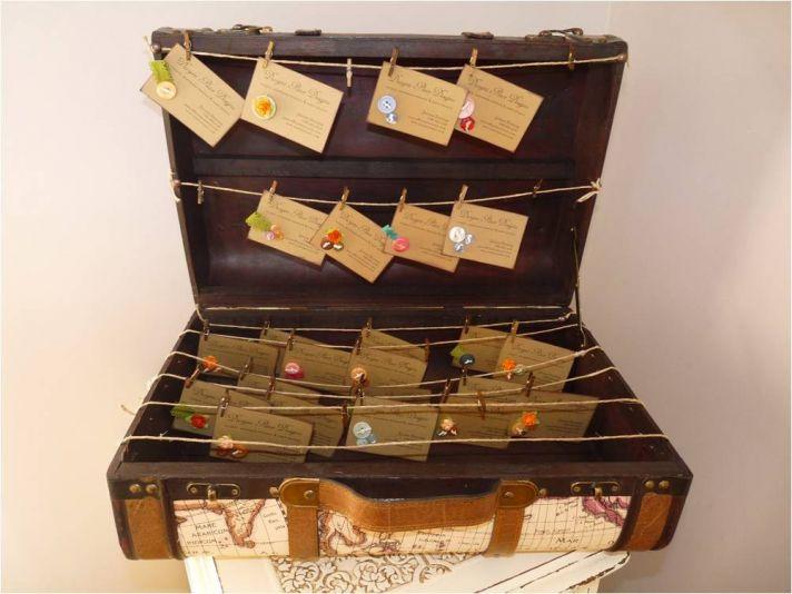 Vintage-chic custom wedding reception escort cards and trunk card holder
