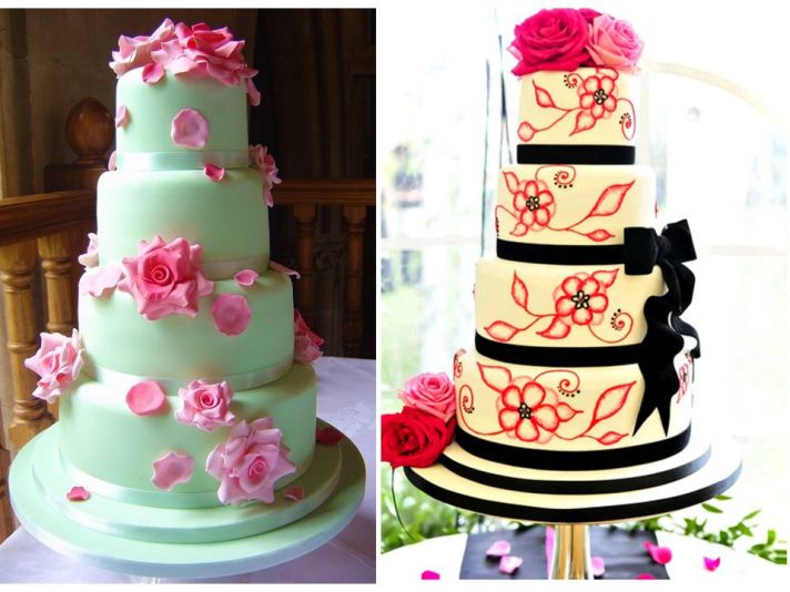 Vibrant, contemporary floral adorned wedding cakes