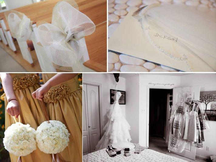 Classic, simple wedding ceremony decor- white ribbons adorn church pews