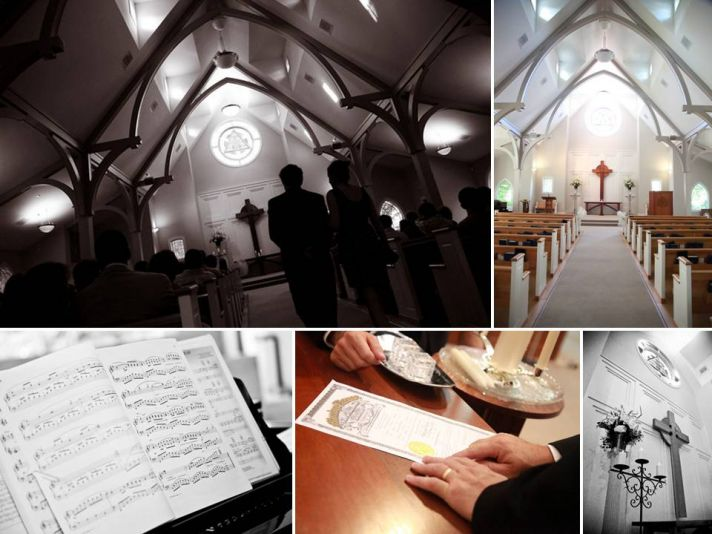 Classic wedding ceremony church with stained glass and dramatic vaulted ceilings