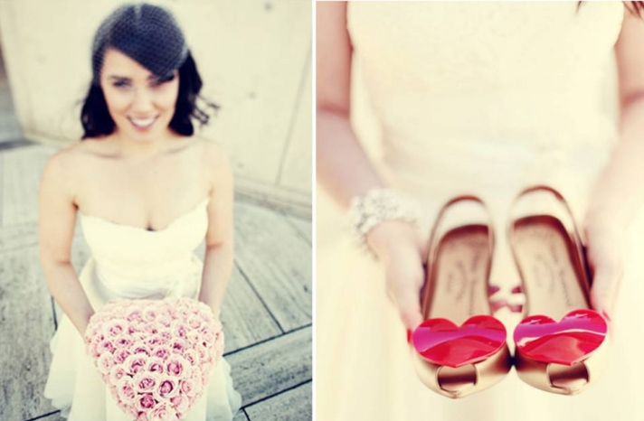 valentines-day-wedding-pink-bridal-bouquet-white-wedding-dress-red-bridal-heels