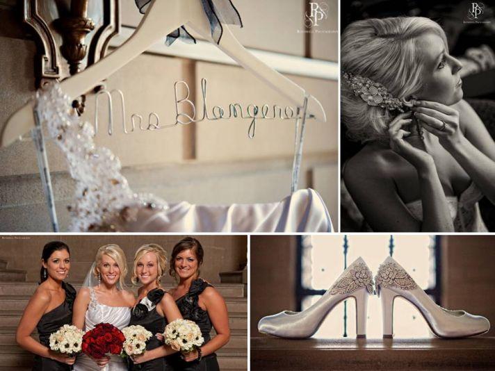 Bride wears one-shoulder white wedding dress, ivory bridal pumps, red rose bridal bouquet