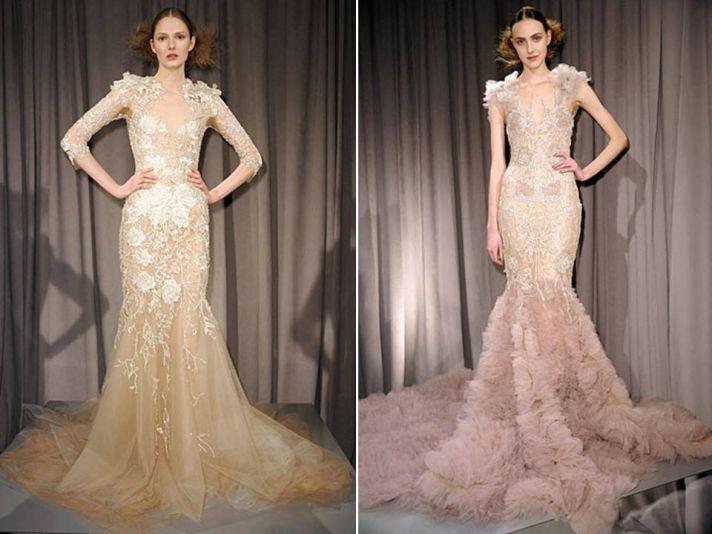 Sleek mermaid silhouette ivory champagne wedding dresses by Marchesa