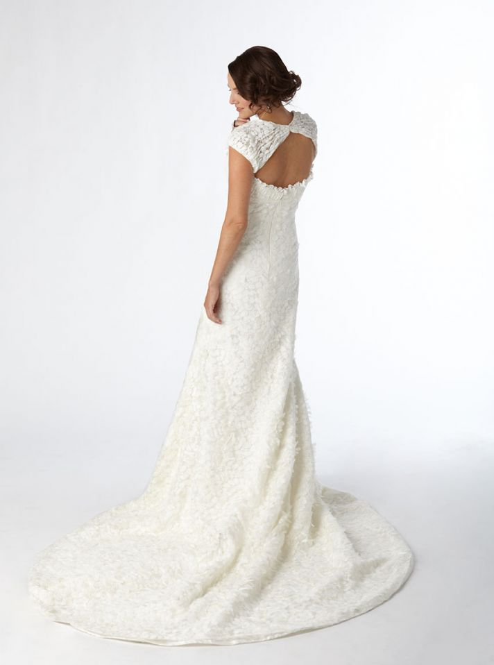 White lace mermaid wedding dress with open keyhole back