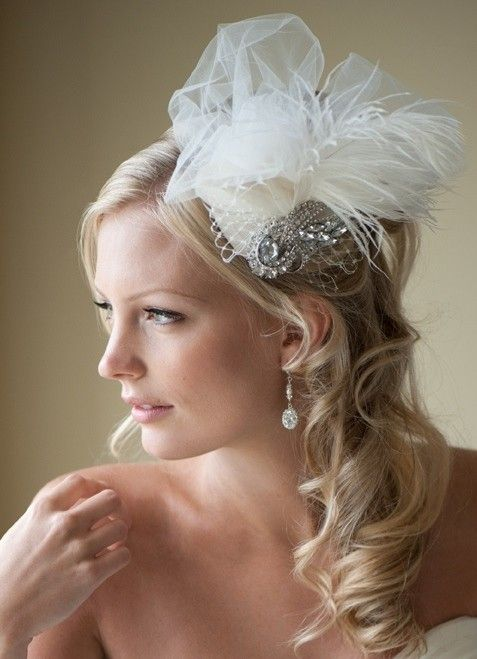 Romantic ivory bridal fascinator with jeweled brooch