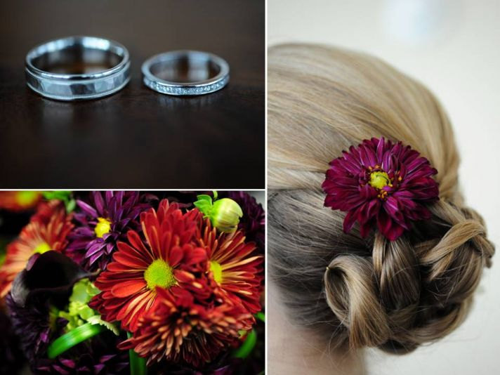 Platinum wedding bands, colorful fall wedding flowers