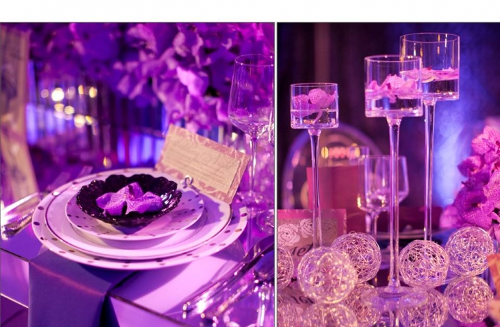 glamourous-purple-wedding-reception-decor-tablescape-orchid-wedding-flowers