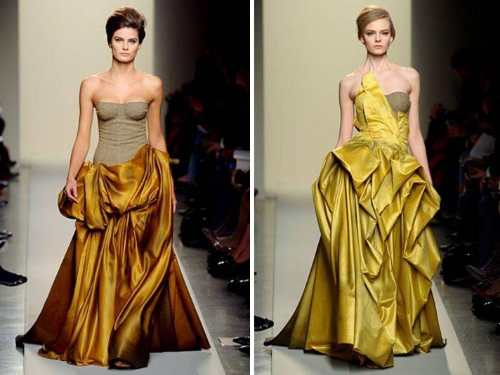 Strapless ballgown wedding dresses with rich hues by Bottega Veneta