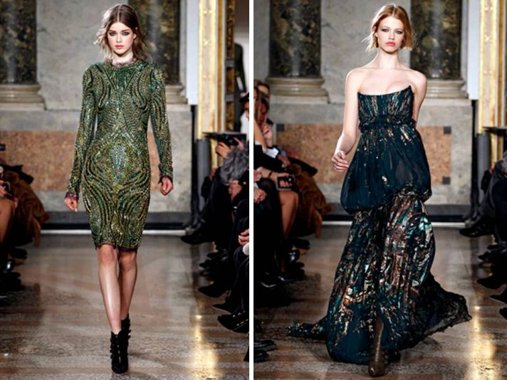Knee-length shift dress and strapless gown by Emilio Pucci