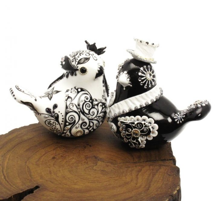 Black and white love birds wedding cake toppers with rhinestone embellishments