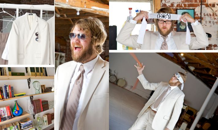 Retro groom gets ready for wedding ceremony
