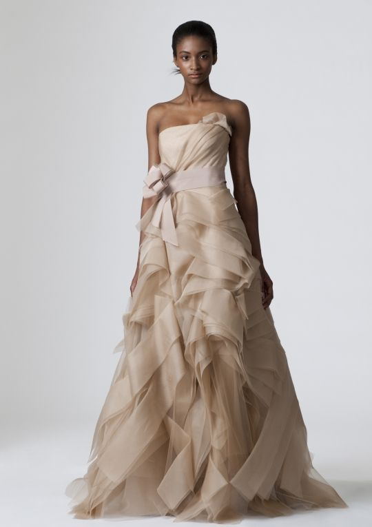 Strapless beige Vera Wang a-line wedding dress
