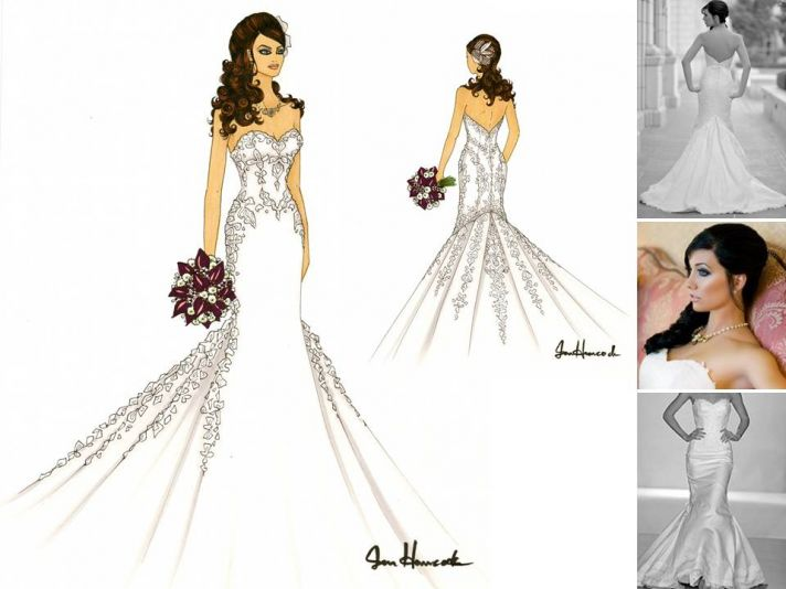 Artistic sketch of bride in white strapless mermaid wedding dress