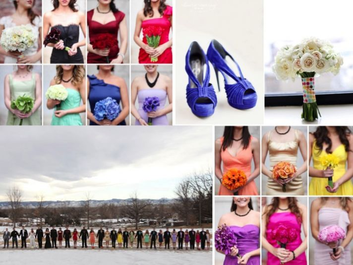 Bridesmaids wear red, orange, yellow, blue red and more bridesmaids dresses!