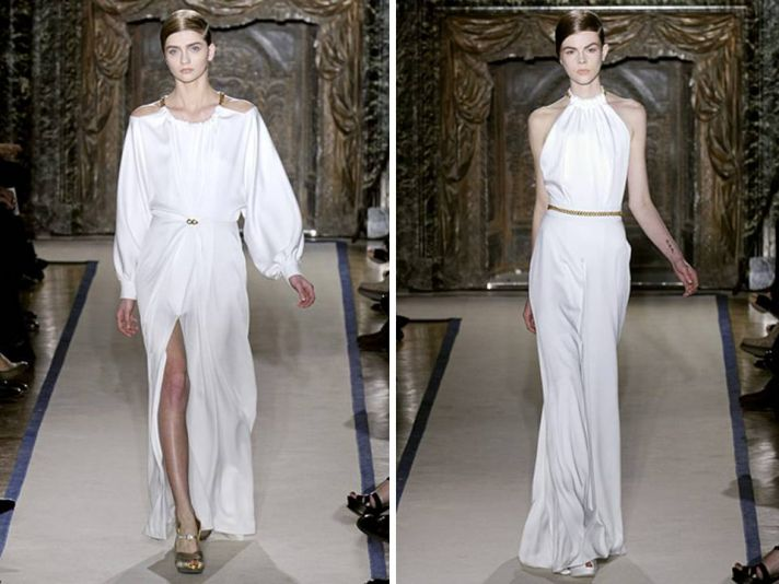 White silk halter wedding dress with dramatic slit and gold bridal belt