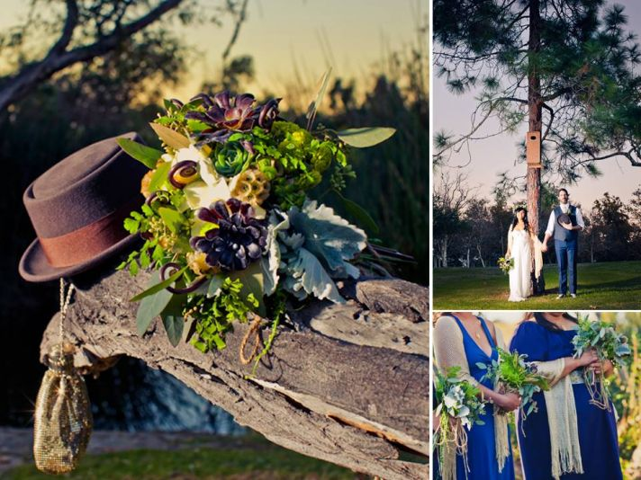 Groom's 70's-inspired wedding hat sits with bride's eco-chic bridal bouquet