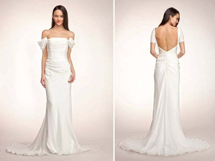 Chic off-the-shoulder white mermaid wedding dress