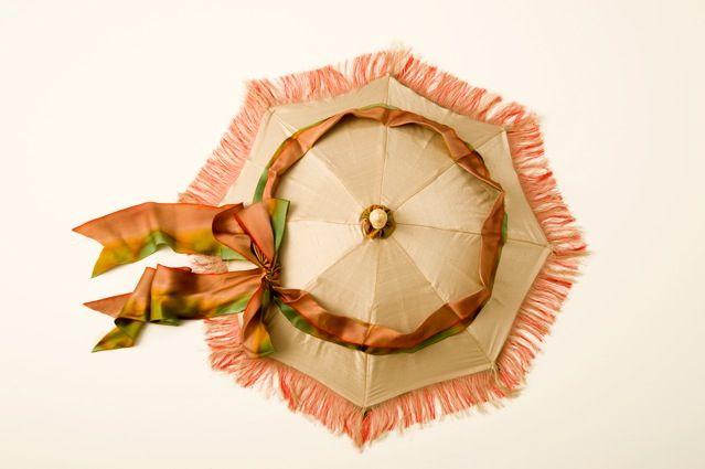 Romantic pink, green and tan bridal parasol for spring wedding