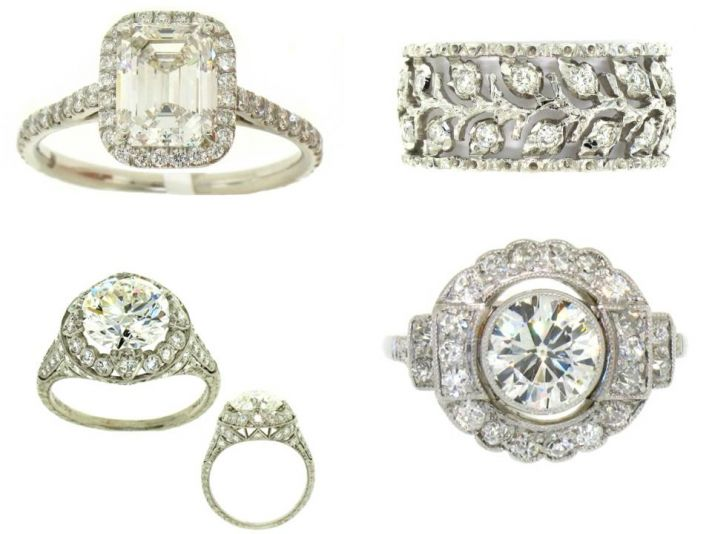 Vintage platinum and diamond engagement rings with pave settings