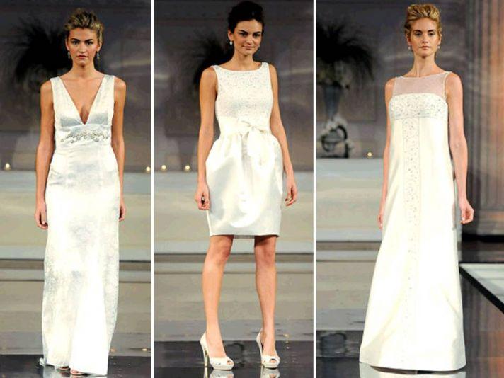Classic white column and sheath wedding dresses; short wedding reception dress