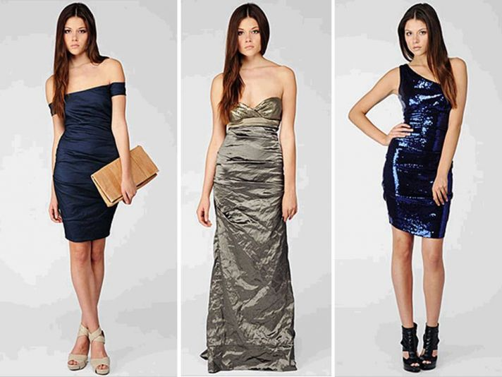 Sparkly metallic sequin-adorned copper bridesmaids dresses by Nicole Miller