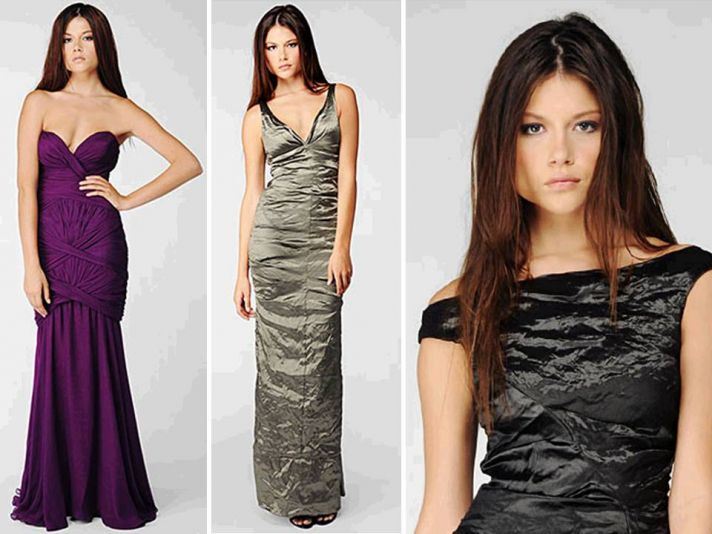 Eggplant, silver and black metallic bridesmaids dresses