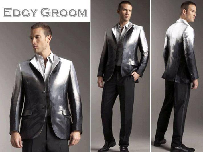 Rock star groom's style- a metallic Alexander McQueen tux jacket