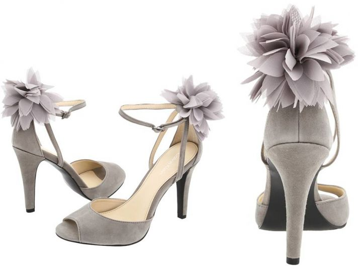 Lavender grey suede-peep-toe bridal heels with floral embellishment, Calvin Klein