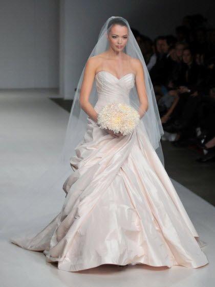 Light pink 2011 sweetheart neckline wedding dress by Romona Keveza