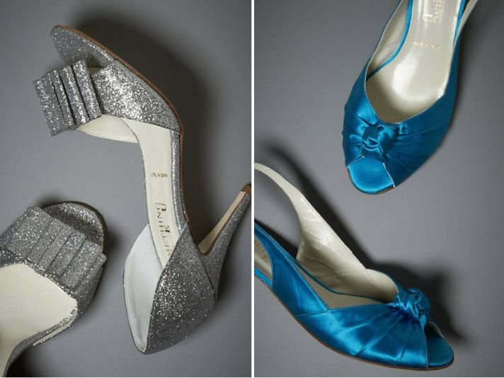 On-trend metallic open-toe bridal heels by BHLDN; low slingbacks for tall brides