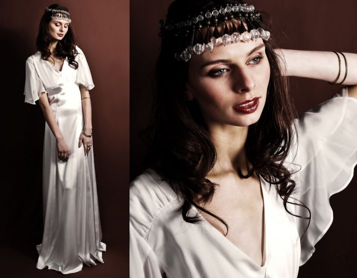 Vintage-inspired white silk sheath wedding dress with flutter sleeve