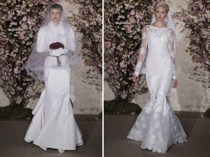 Winter wedding dresses by Oscar de la Renta- lace mermaid, long sleeves