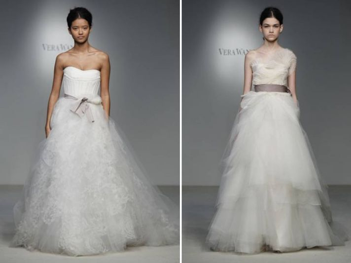 Romantic white lace and tulle a-line bridal gowns by Vera Wang