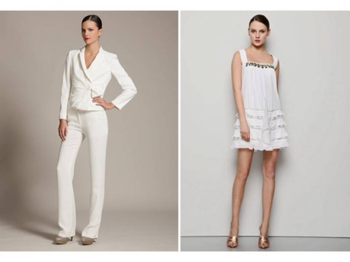 White hot tailored white suit for your rehearsal dinner, wedding reception frock