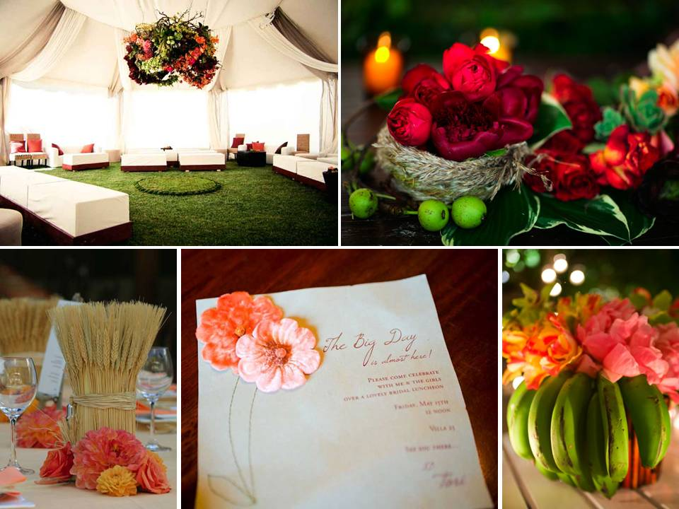 Vibrant unique wedding reception table centerpieces and textured wedding