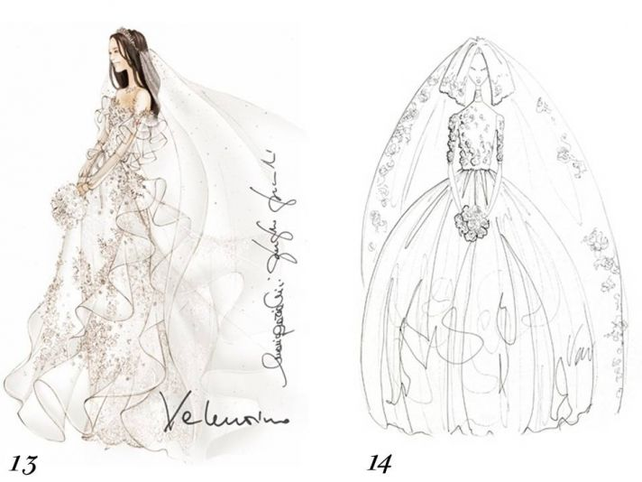 Valentino and Vera Wang sketch Kate Middleton's wedding dress