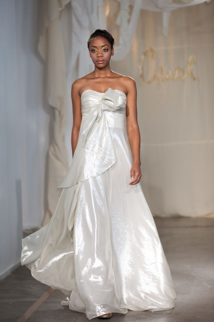 Metallic strapless Grecian-inspired a-line wedding dress